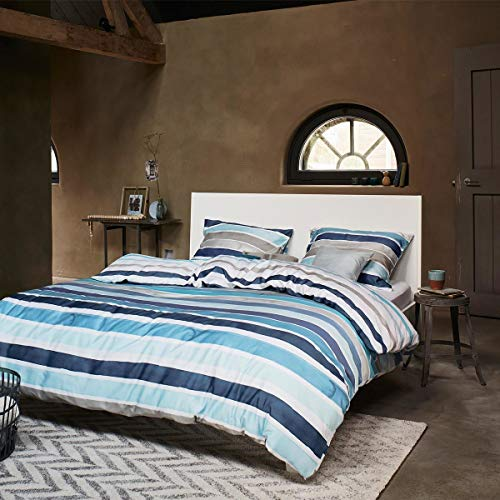 ESPRIT Wendebettwäsche Iva blau 1 Bettbezug 155 x 220 cm + 1 Kissenbezug 80 x 80 cm - Blau Gestreifte Kissenbezug