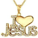 MESE London Ich liebe Jesus Christian Halskette 18 Karat Vergoldet in Luxus Geschenkbox