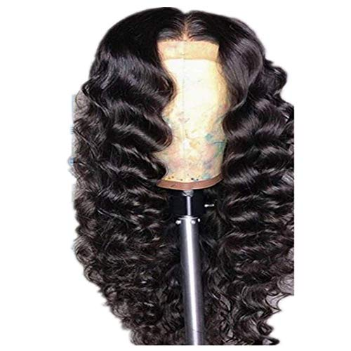 Allievens Echthaarperücke Für Frauen Von Gelockt, Lace Frontal Perücke Loose Wave Human Hair Perücken Hair Pre Plucked Hairline for Women 150% Density Natural Color,24inches