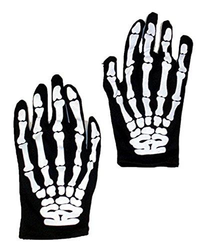 Morbuy Skelett Handschuhe für Erwachsene für Halloween Fasching Karnevall Party Verkleiden Sich(1 Paar) (Mädchen Anna Haube Und Handschuhe)