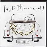 """Glückwunschkarte zur Hochzeit """"Just Married !"""" im eleganten Belly Button Design mit Prägung und Folienauflage in Silber, veredelt mit ausgewählten Kristallen. Hochwertiger Umschlag in edlem steingrau, verpackt in staubdichtem Blister. BB094"""