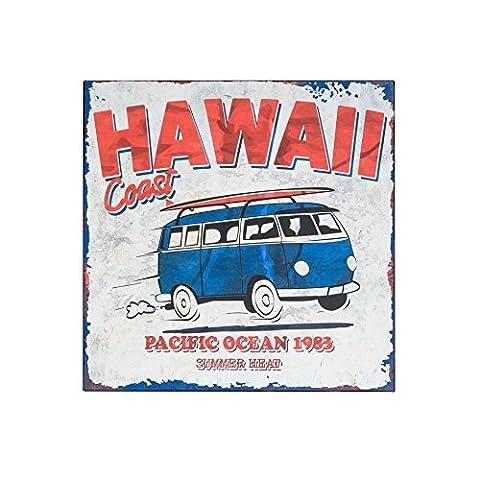 Rebecca Srl Poster Plaque Metal Mur Hawaii Coast Bus Vintage Bar Cuisine Chambre (Cod. RE4701)