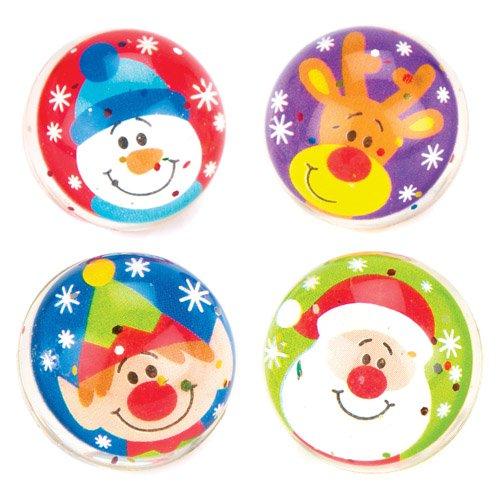 Palline rimbalzine glitterate amici natalizi per bambini, giochi e giocattoli per bambini piccoli per un natale perfetto (confezione da 8)