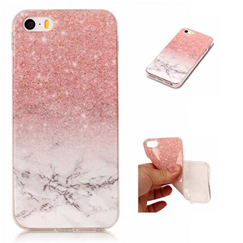 iPhone 5 Hülle, Voguecase Silikon Schutzhülle / Case / Cover / Hülle / TPU Gel Skin für Apple iPhone 5 5G 5S SE(Marmor Serie -Pink und Schwarzes) + Gratis Universal Eingabestift Marmor Serie -Pink und Weiß