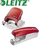 Leitz 5005 NeXXt Series Bürolocher für bis zu 25 Blatt / Kombi-Set (Locher + Heftgerät, rot)