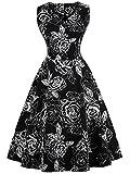 FAIRY COUPLE 50er V-Ausschnitt Rockabilly Polka Blumen Jahrgang Kleid Cocktail DRT072(3XL,Schwarz weiße Floral)