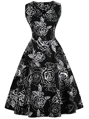 FAIRY COUPLE 50er V-Ausschnitt Rockabilly Polka Blumen Jahrgang Kleid Cocktail DRT072(L,Schwarz weiße Floral)