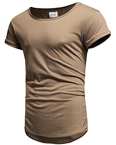 Crone Herren Kurzarm Rundhals Basic Oversize Slim Fit T-Shirt in vielen Farben Sand