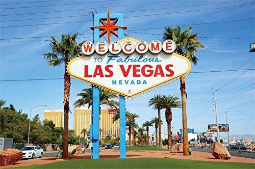 Cassisy 3x2m Vinyle Las Vegas Toile de Fond Photo Bienvenue À Fabuleux Las Vegas Signe Nevada Paysage Urbain Fond De Studio Photo Adulte Portrait Photographie Props Photobooth