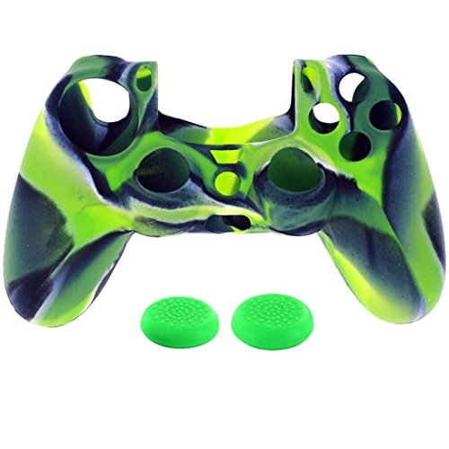 Game Controller Zubehör, ikevan 1pc Silikon Case Cover + 2pc Rocker Gap für Playstation PS4Controller, PS4, Grün -