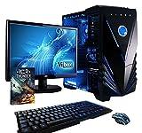 VIBOX Standard 3XL - Ordenador para gaming (21.5', AMD A8-7600, 32 GB de RAM, 2 TB de disco duro, AMD Radeon R7, Windows 10) color neón azul - Teclado QWERTY Inglés
