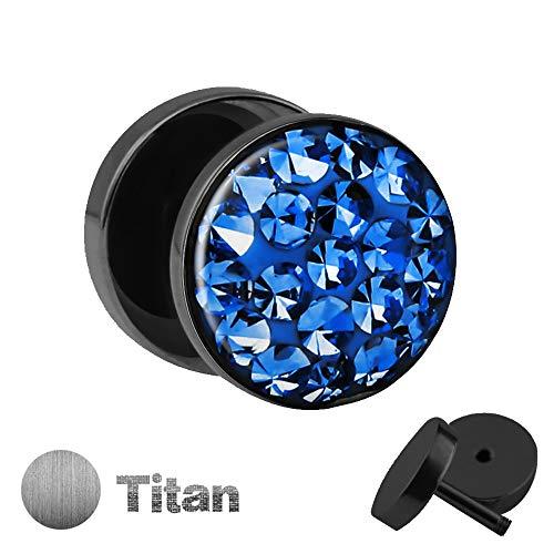 Titan Ohrstecker zum Schrauben mit blauen KRISTALLEN - Fake Plug mit Zirkonia aus Titanium (Nickelfrei) mit funkelnden Steinen & Schutzschicht - Epoxy ()