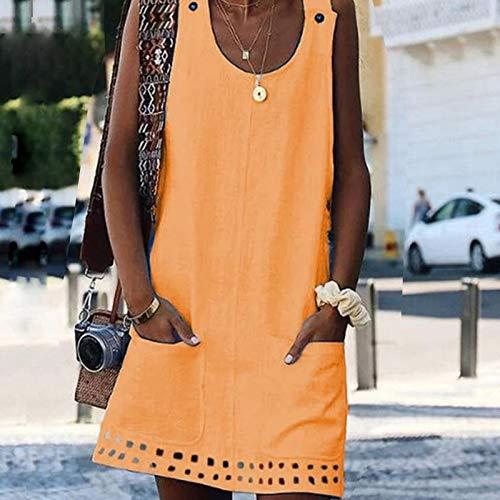CEGFXCSW Kleid Damen Kleid Frühling Sommer Kleid Rundhalsausschnitt Damen Kleider Shift Daily Casual Button Plain Cotton Kleider, Navy Blue, 4XL Damen Navy Blue Shift