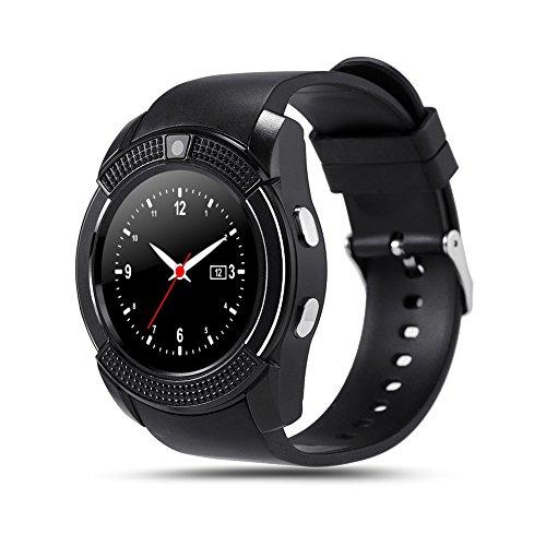 V8 Smartwatch, mit Bluetooth, Touchscreen, SIM-Steckplatz, microSD-Steckplatz (ehemals TransFlash), Smartwatch für Android für mehr Gesundheit, Schwarz