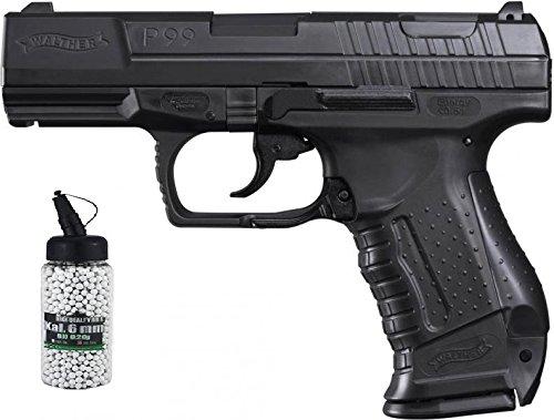g8ds Set: Walther P99 Black inkl. Ersatzmagazin Federdruck Softair Pistole 6 mm BB 0,5 J ab 14 Jahren freigegeben Softair Munition Bio BBS Premium Selection 2000 Stück 0,20 g 6mm -