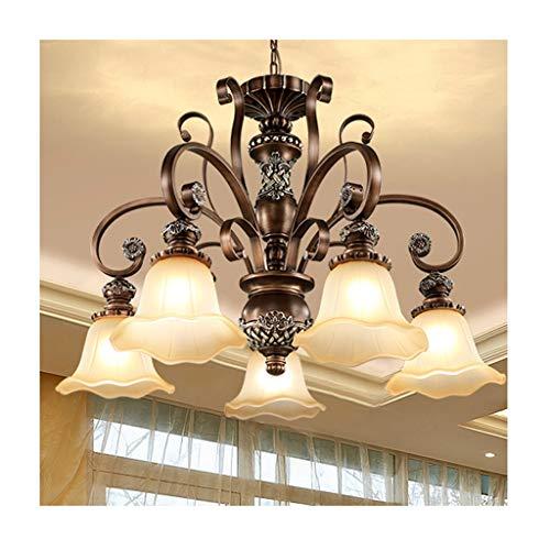 Qqzmd Deckenleuchter Luxuriöse Atmosphäre LED Europäischen Goldschnitt Geschnitzte Spalte Für Schlafzimmer Esszimmer (Size : B) -