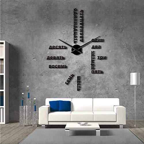 Knncch 27 Pouces Noir Langue Étrangère Bricolage Géant Horloge Murale Grand Chiffres Russes Soviétiques Grande Horloge Montre Chambre De Bébé Décoration Préscolaire Montre Russe