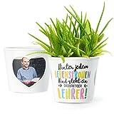 MyFacepot Lehrer Geschenk Blumentopf (ø16cm) | Zum Abschied, Schulanfang oder Geburtstag mit Rahmen für Zwei Fotos (10x15cm) | Hinter jedem lebensfrohen Kind Steht eine großartiger Lehrer!