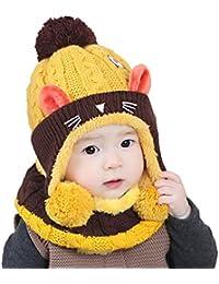 Elonglin Unisexe Bébé Enfant Coiffe d hiver Chaud Chapeaux Tricoté+écharpe  2 Pièces Ensemble 2e1c584954b