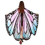 ❤️schmetterling kostüm, KOBAY Frauen Weiches Gewebe Schmetterlingsflügel Schal Fee Damen Nymph Pixie Kostüm Zubehör für Show / Daily / Party (168*135CM, Rosa)