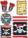 Partyset Piraten für 8 Kinder 48 Teile Becher Teller Servietten Tüten Karten