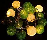 Stoff Ball Lichterkette grün-weiß / Kugel Lichterketten