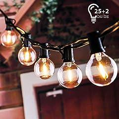 Idea Regalo - tronisky Catena Luminosa, 7.62M Stringa Luci Catene Luminose Impermeabile con 25 G40 Lampadina Bianco Caldo Decorazione da Esterno e Interno per Giardino, Terrazza, Matrimonio, Natale, Festa
