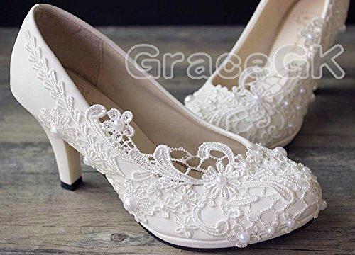 JINGXINSTORE Pizzo cristallo bianco Nozze Nuziale scarpe White