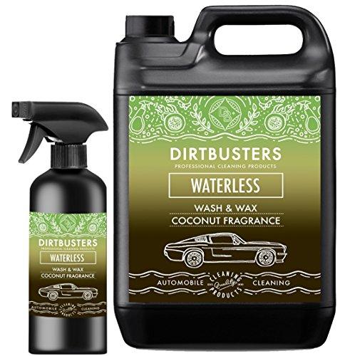 Dirtbusters Waterless Car Wash & Wax Autopfelegemittel /Reiniger zum Waschen und Wachsen, Kokosduft, 5Liter + 500ml, Reinigungsspray leicht auftragen und entfernen, hochwertiger Wachs für schlierenfreie Sauberkeit