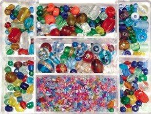 Rayher hobby 14003999, perline per bigiotteria vetro, multicolori, 115 g, diametro 2,5 - 13mm