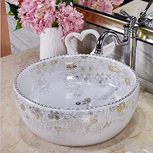 GongDi Waschplätze Aufsatzbecken Badezimmer runder Tisch Waschbecken kreative Keramik Trommel weiß Waschbecken Hotelbecken ohne Wasserhahn 40 * 40 * 15