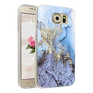 Handyhülle für Samsung Galaxy S6, Asnlove Ultra Dünn TPU Silikon Hülle Case Cover Marmor Motiv mit IMD Schale Backcover Tasche Schutzhülle für Samsung Galaxy S6 G920F, Blau