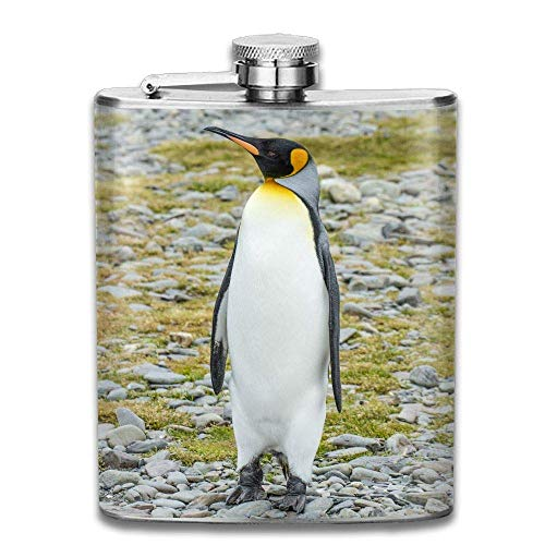 Nifdhkw South Georgia King Penguin Fashion Portable Stainless Steel Hip Flask Whiskey Bottle for Men and Women 7 Oz