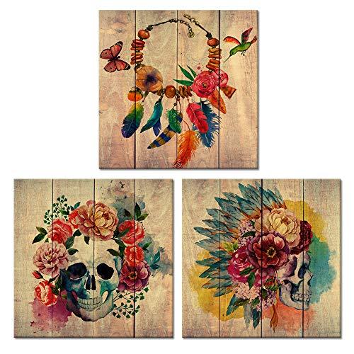 Visual Art Decor Abstrakt Floral Skull Leinwandbild Sugar Skull Poster Wall Art Art Decor Gemälde Prints gerahmt Art Wand 12''X12 x 3pcs(30cmx30cmx3pcs) Modern Skull Medium (Sugar Skull Art)