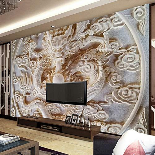 Hwhz Custom 3D Wall Murals Wallpaper Estilo Chino Alivio Del Dragón Mural Fotográfico 3D Estereoscópico Arte Sala De Estar Tv Papel De Pared De Fondo-250X175Cm