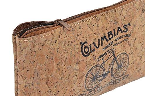 Estuche multiusos corcho dibujo bicicleta antigua.