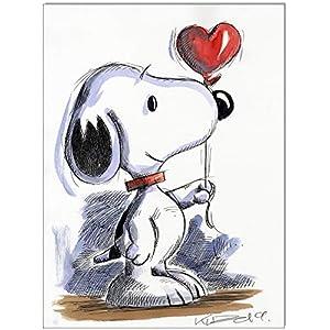 Original Feder und Aquarell auf Aquarellkarton: Peanuts Snoopy/ 24x32 cm