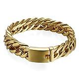 Edelstahl Herren Armband Panzerarmband gold, 15mm Breite Große Armreif Armschmuck Armkette Handgelenk mit Steckschließe , 22cm