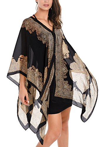 DJT T-Shirt Imprime Floral Tops A la mode Foulard Cover up Noir