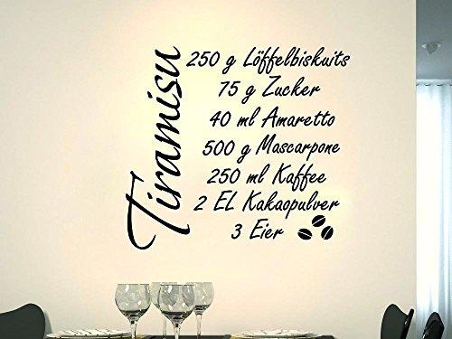 Wandtattoo Wandaufkleber Sticker für Küche Spruch Dessert Rezept Tiramisu (63x57cm//080 braun)