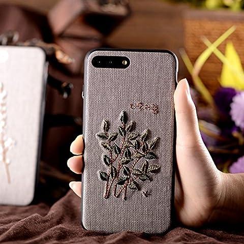 iPhone 8 Plus Custodia, iPhone 7 Plus Cover, JAWSEU Moda nuovo Arte Ricamo Panno TPU Cover Custodia per iPhone 8 Plus…