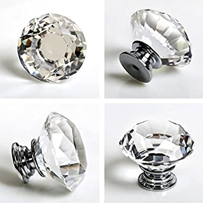 Hipiwe 8X40mm Diamond Cut Clear Crystal Glass Drawer Wardrobe Kitchen Door Knob Cabinet Pull Door Handle Cupboard Hardware for Home Decorating