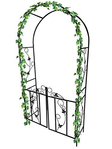 Garden Mile groß 2.4m dekorativ schwarz Metall Garten Bogen mit doppelten Tore Schwerlast Starke...