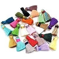 100piezas de seda hecho a mano pequeño Mini suave flecos borlas, Colorful borlas, pendientes borlas, varios colores al azar