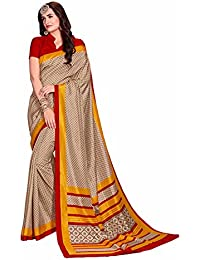 Novus Knitting Beige Pure Mysore Silk Designer Bollywood Saree With Blouse For Uniform (4921)