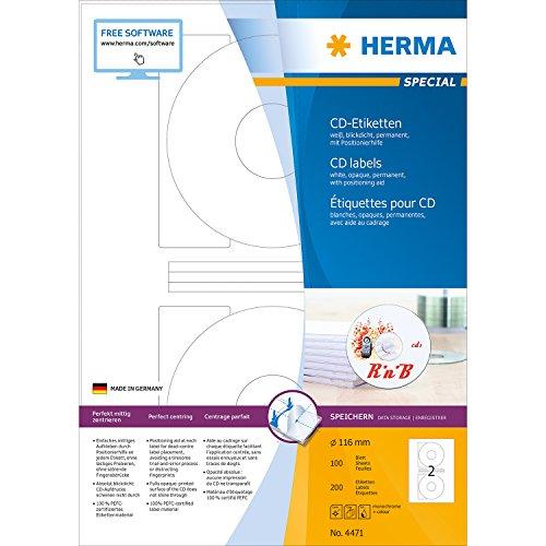 Herma 4471 Etikett-CD 116-rund weiß 200Stück ILK Rand rundum