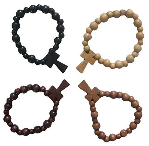 Buche Beige (Wood bead bracelet w/Cross) Holzarmband mit Kreuz