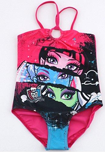 Preisvergleich Produktbild Monster High Badeanzug 1pièce-Monokini, Fuchsia für Kinder Mädchen 10Jahre mit dem Bild von von Draculaura, Abbey Bominable, Puppe und & Frankie Stein
