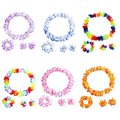 aiian Leis Tropische Blume Halskette Kranz und Armband Hawaiian Luau Beach Party Supplies ()
