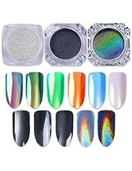 Born Pretty 3 boîtes 0.5g Nail Art Glitter Set Noir Perle Miroir Pigment Holographique Argent Néon Animal Sirène Chrome Manucure Poudre